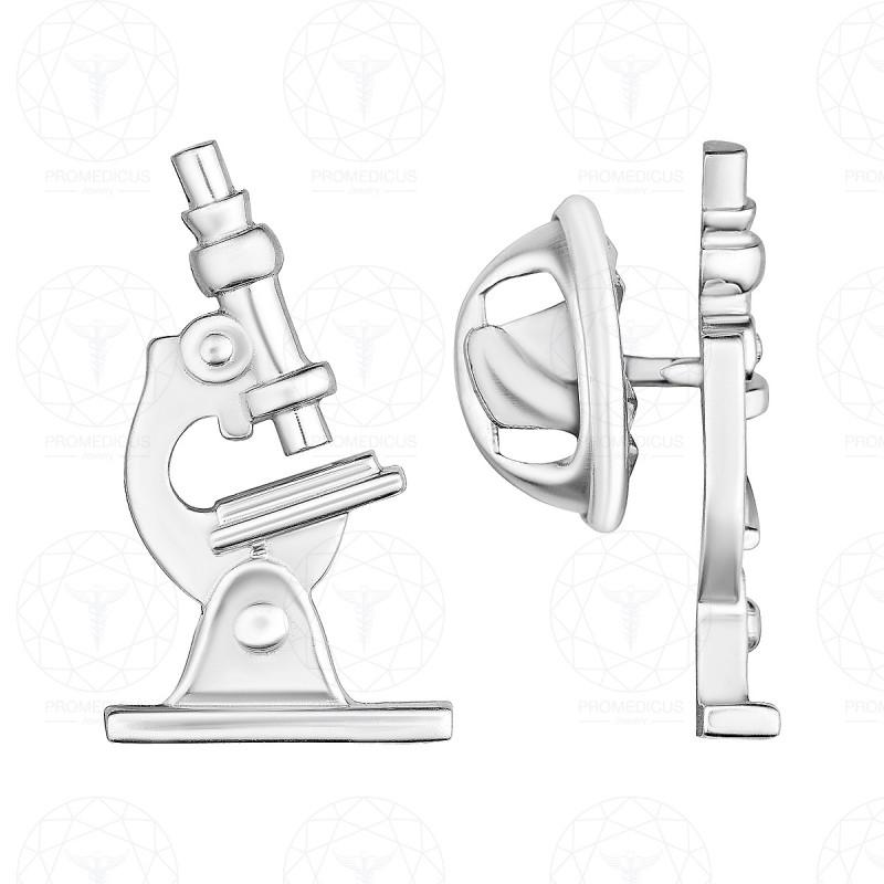 """Значок """"Микроскоп 1"""" (Серебро 925)"""