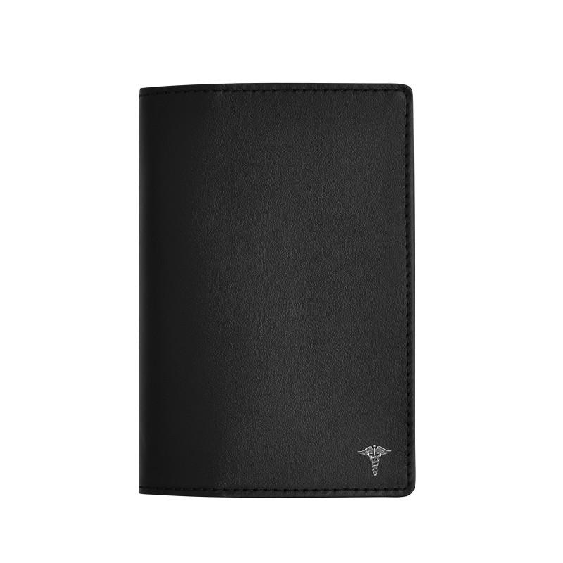 """Обложка для паспорта  с пином """"Кадуцей"""" (цвет черный)"""