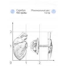 """Значок """"Анатомическое сердце"""" (Серебро 925)"""