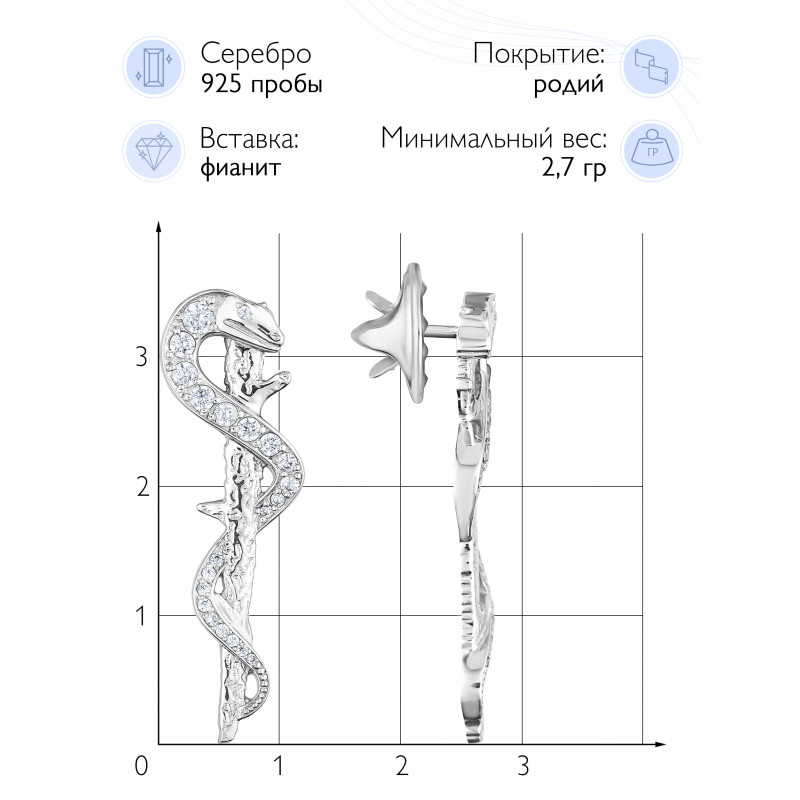 "Значок  ""Посох Асклепия"" (Серебро 925)"